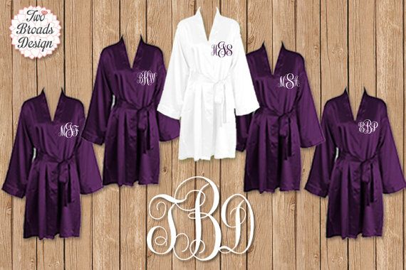 BRIDESMAID ROBES - Set Of 7 - Free Robe - Purple Robe - Personalized Satin  Robes - Bridesmaid Gift - Wedding Robe d257fffa0