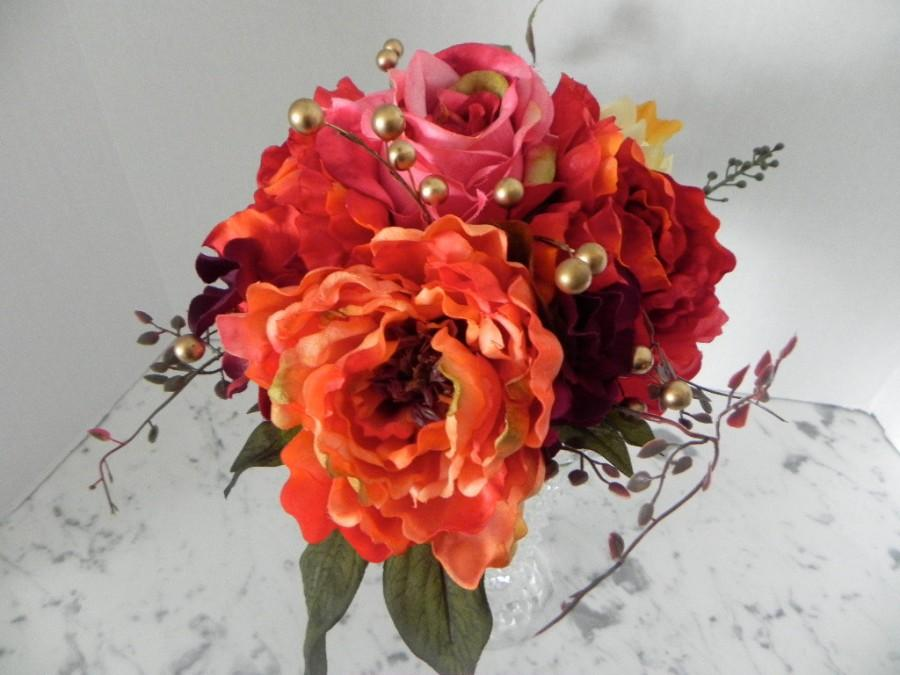 Wedding - Fall Wedding Bouquet, Silk, Bridal flower package  4 Pieces, Jewel Tones , Roses, Dahlias ,Peonies ,Maid's  Bouquet, 2 Boutonnieres  BB#102