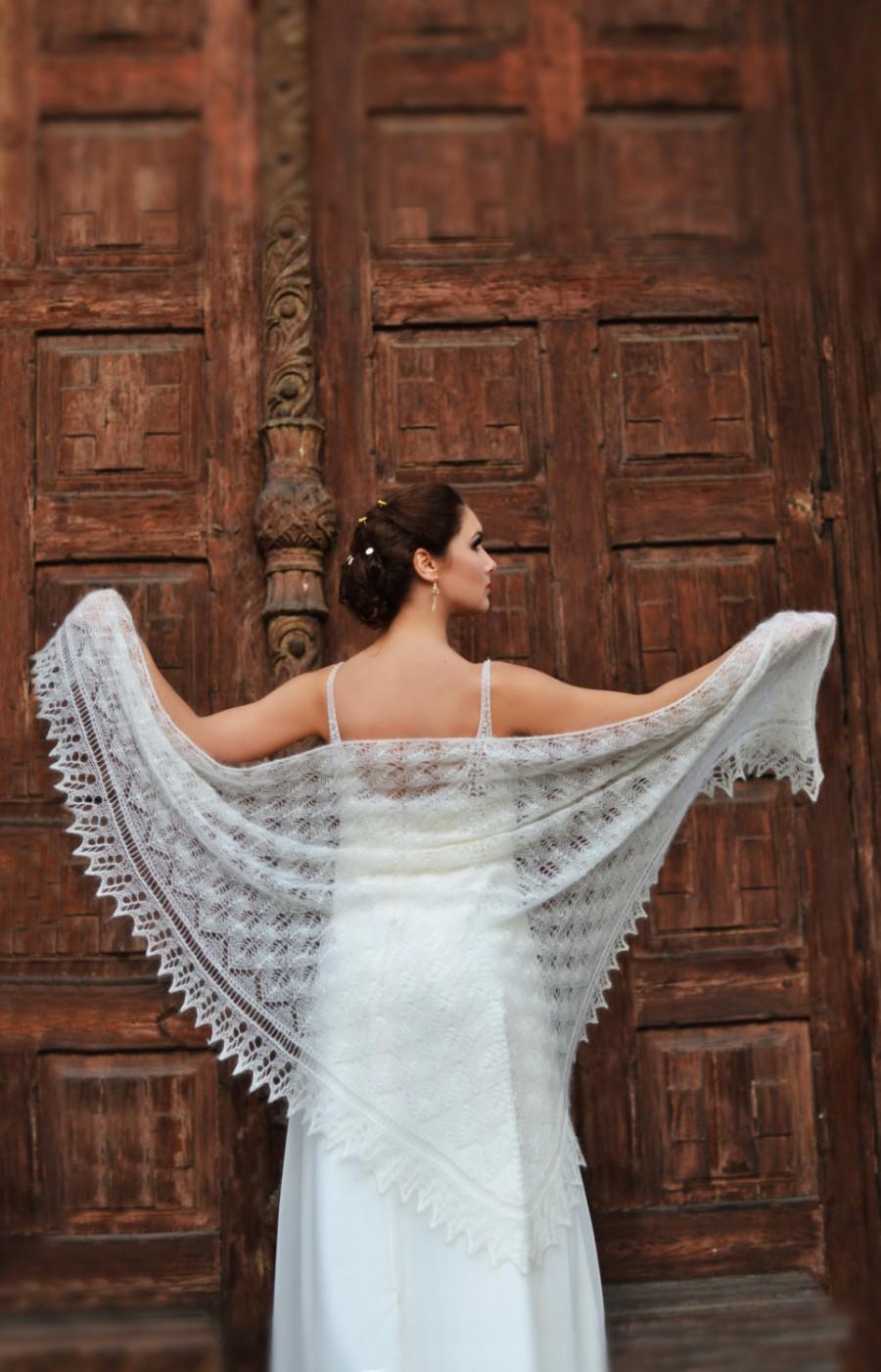Knitted Lace Shawl, Made To Order , Wedding Shawl, Ivory Laces Stola ...