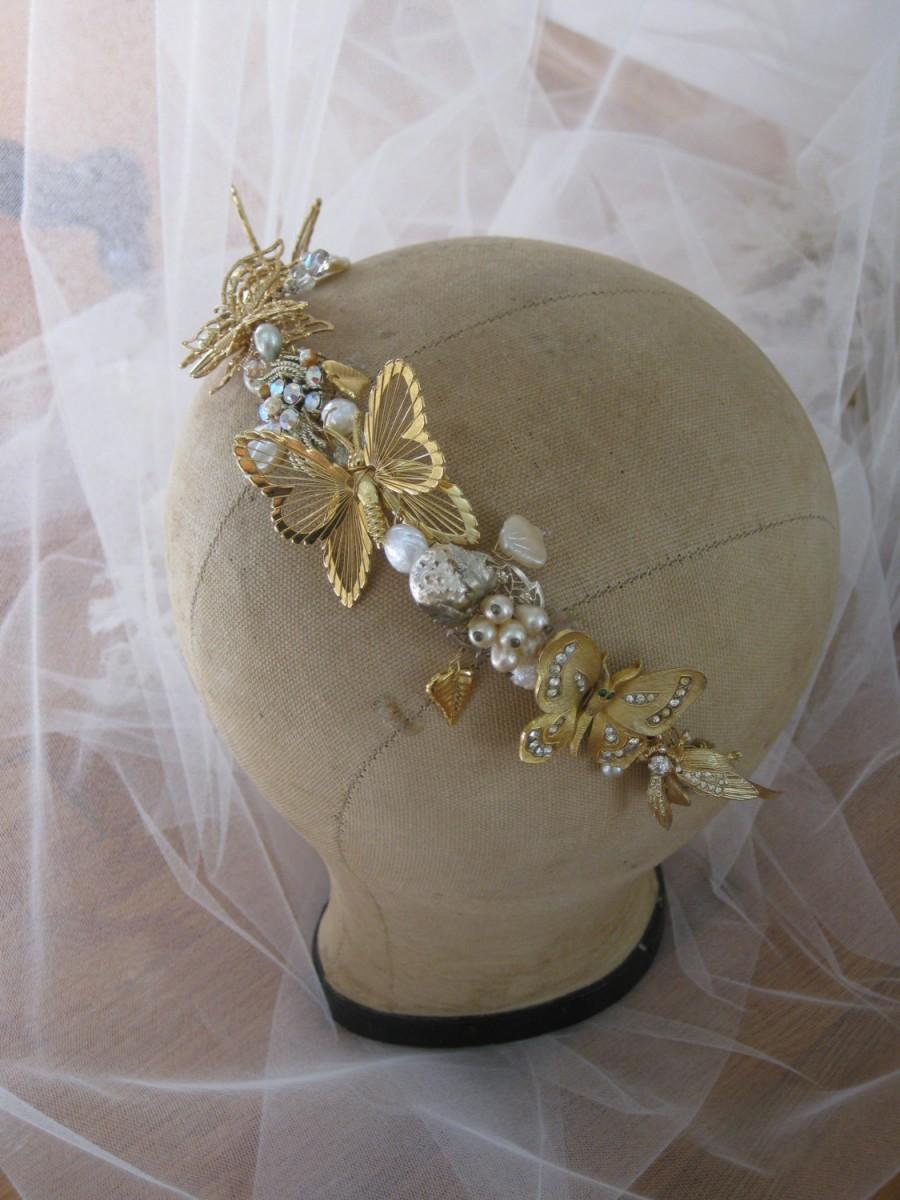 Mariage - Butterfly Golden Jewel Tiara crown headband Bridal Headpiece wedding head piece