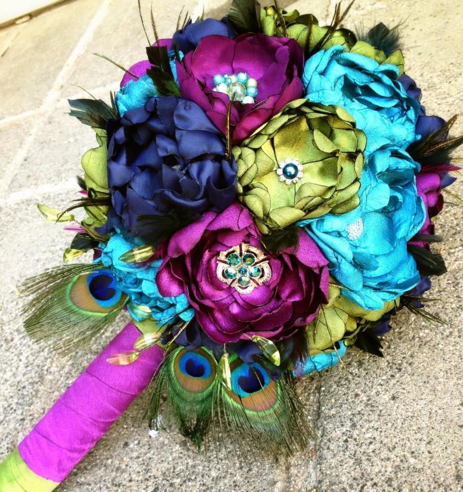Handmade beautiful peacock fabric flower wedding bouquet brooch handmade beautiful peacock fabric flower wedding bouquet brooch bouquet custom order izmirmasajfo