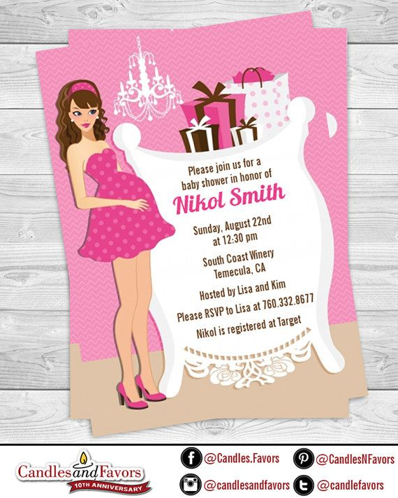 Modern Mommy Its A Girl Baby Shower Invitation Caucasian Or