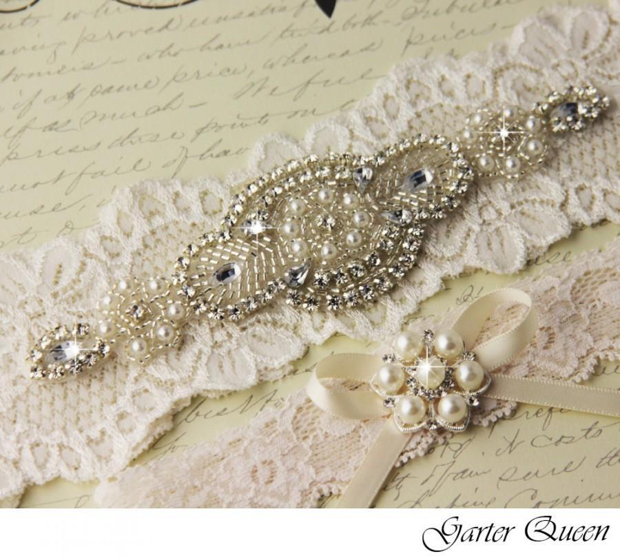 Свадьба - Ivory Lace Garter Set, Wedding Garter Set, Bridal garter Set, Rhinestone Garter, Lace Wedding Garter