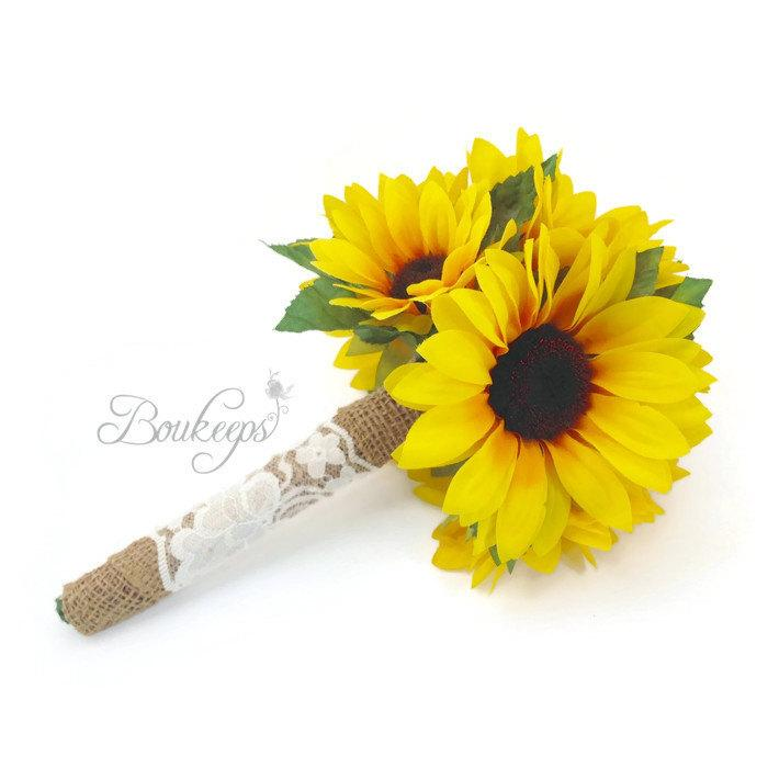 Sunflower Bouquet With Burlap And Ivory Lace, Sunflower Bridal ...