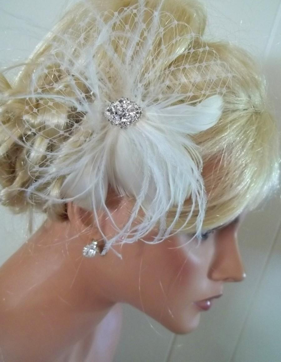 Wedding - Ivory  bridal hair fascinator, feathers french net rhinestone jewel - feathered fascinator wedding hair clip