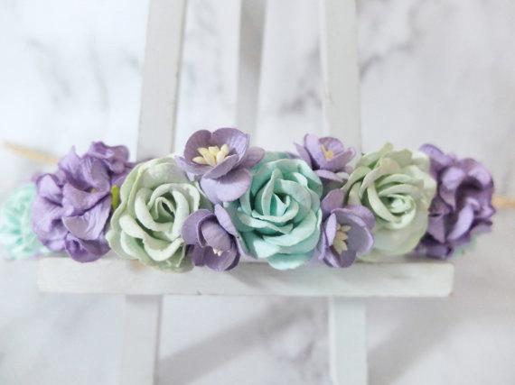 Mariage - Mint green purple flower crown - rustic rose crown - floral hair wreath - flower headpiece - flower hair accessories