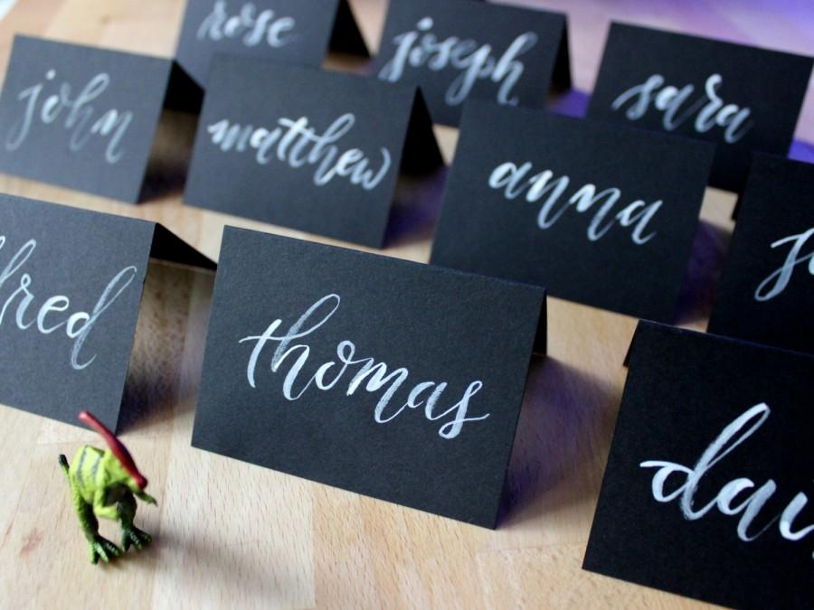 Black place cards chalkboard place cards hand lettered for Personalized wedding place cards