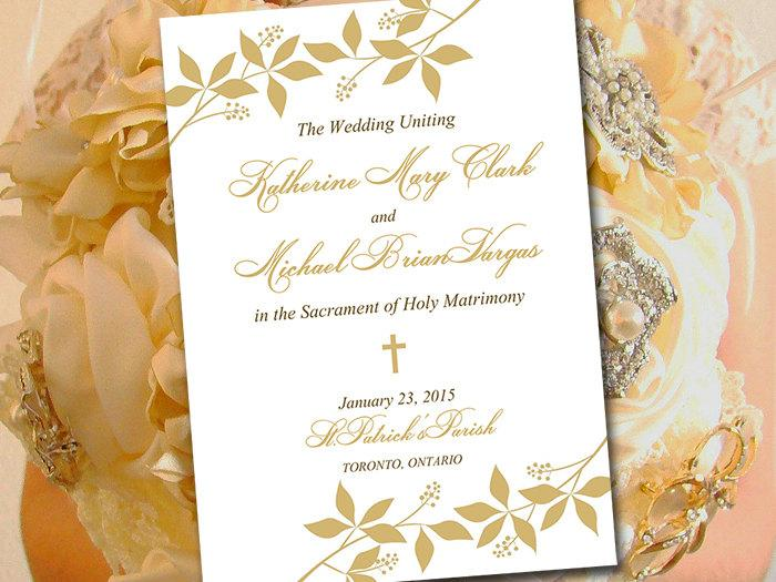Catholic Wedding Program Template - Printable Fold Over Ceremony ...