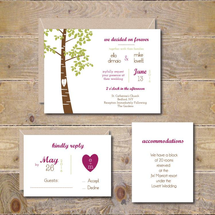 Mariage - Tree Wedding Invitations, Country Wedding Invites, Rustic Wedding Invitations, Wedding Invitations, Oak Tree, Summer Wedding