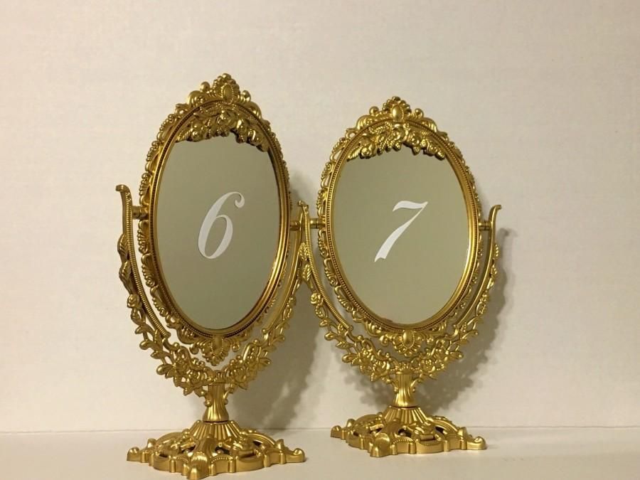 Mariage - Set of gold fairytale ornate mirror table numbers/Beautiful gold table mirrors