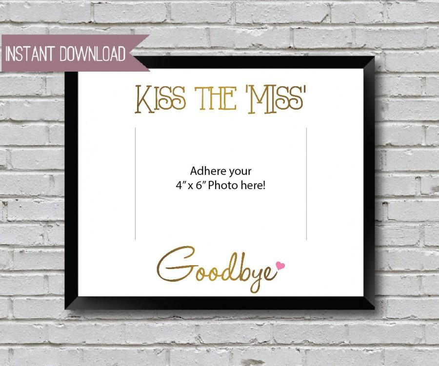 "Mariage - Kiss the Miss Goodbye Bridal Shower Sign Bachelorette Sign - Gold themed 10"" x 8"" INSTANT DOWNLOAD"