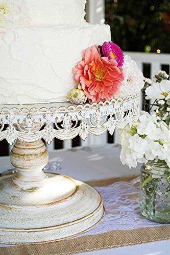 "Свадьба - 16"" Shabby chic metal cake stand/Gorgeous white distressed pedestal cake"