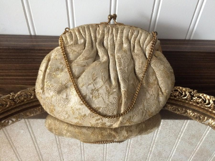 Mariage - Silk Brocade gold and ivory clutch, coin purse, handbag, evening bag, wedding bag, bride purse