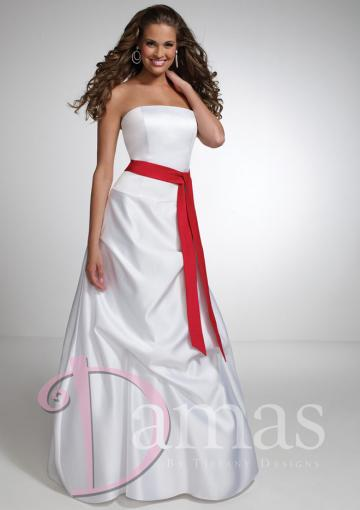 Wedding - Ruched A-line Strapless Sleeveless Ivory Lace Up Floor Length Sash Taffeta