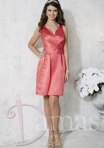 Wedding - V-neck Flower Satin Lace Up Short Length Sleeveless Column