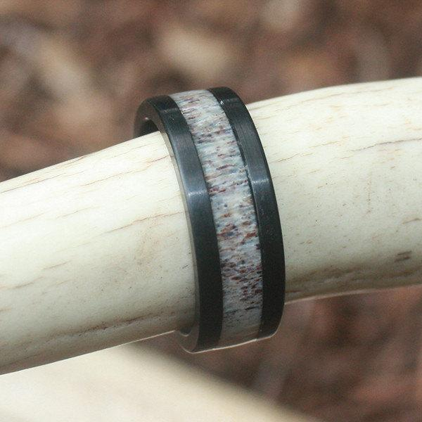 Mariage - Sandblasted Black Tungsten Antler Ring - Made FAST!