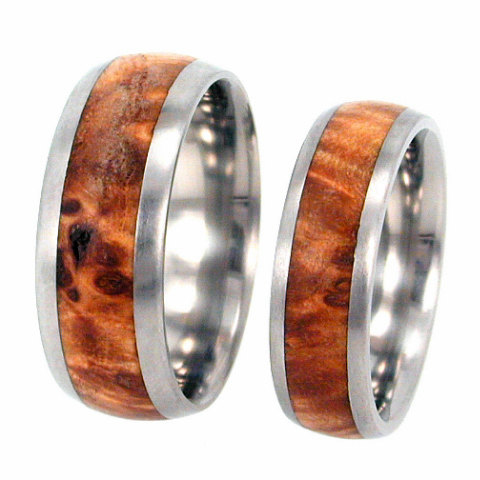 Hochzeit - Wood Wedding Band Set, Titanium Rings With Black Ash Burl, Personalized Rings For Couples