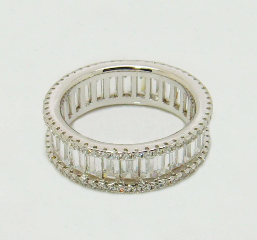 Sterling Silver Eternity Ring Channel Set BaguetteRound Simulated