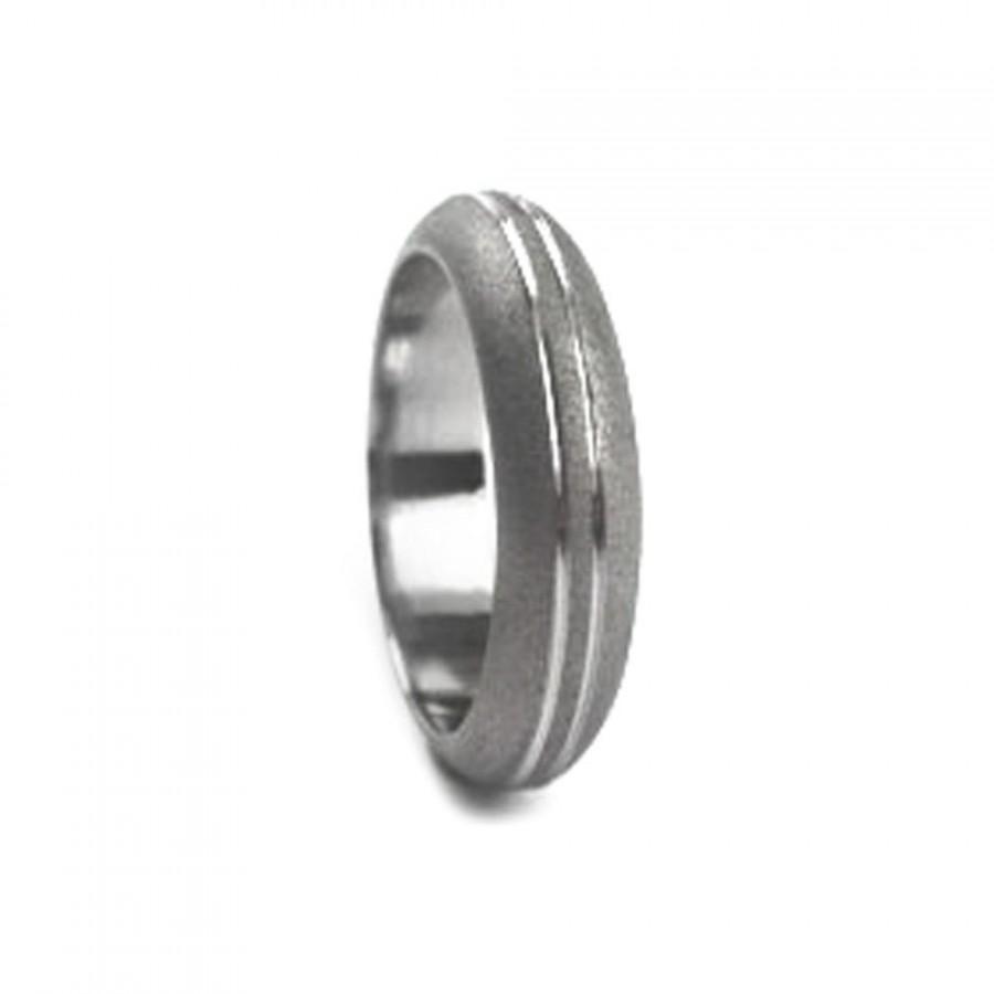 Свадьба - Sandblasted Titanium Wedding Band For Women With Double Pinstripes, Custom Made Titanium Ring