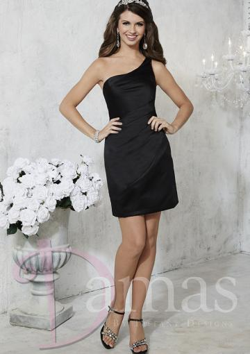 Boda - Short Length One Shoulder Sleeveless Black Lace Up Column Satin