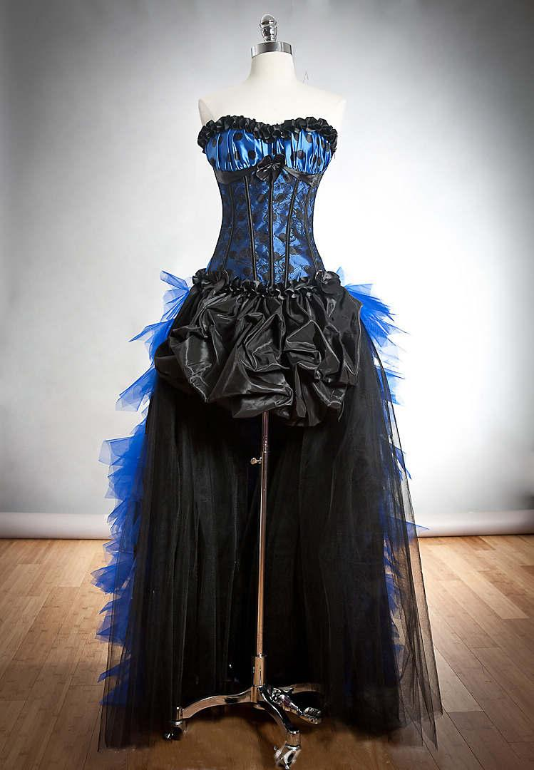 Blue and black gothic burlesque corset high low party for Blue gothic wedding dresses
