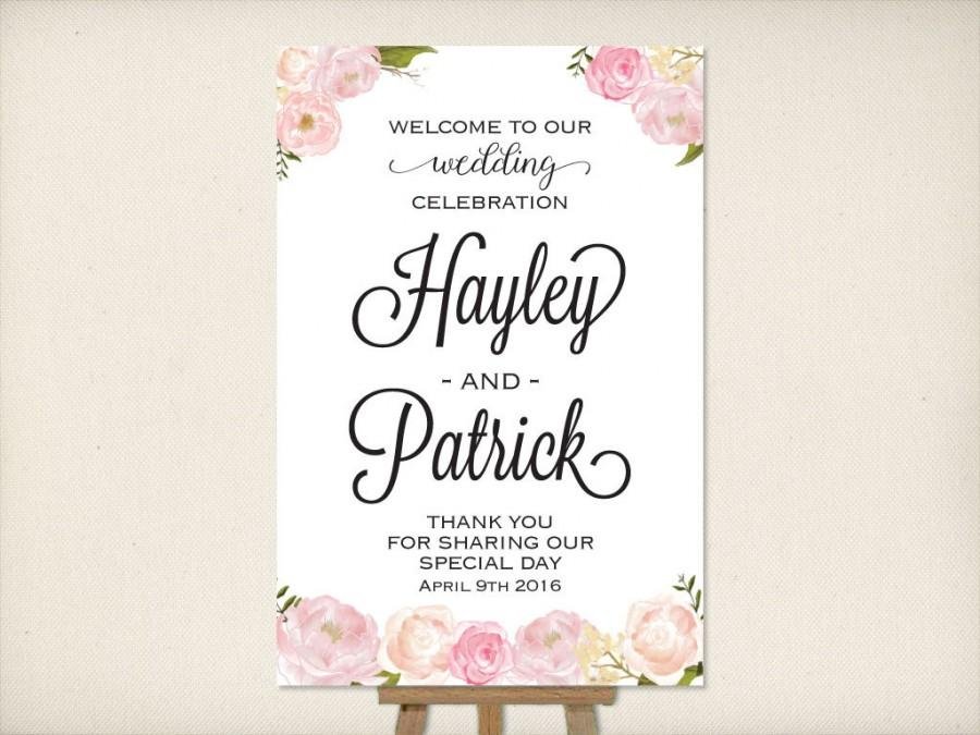 Wedding Welcome Sign Large Mounted Wedding Poster Reception Sign