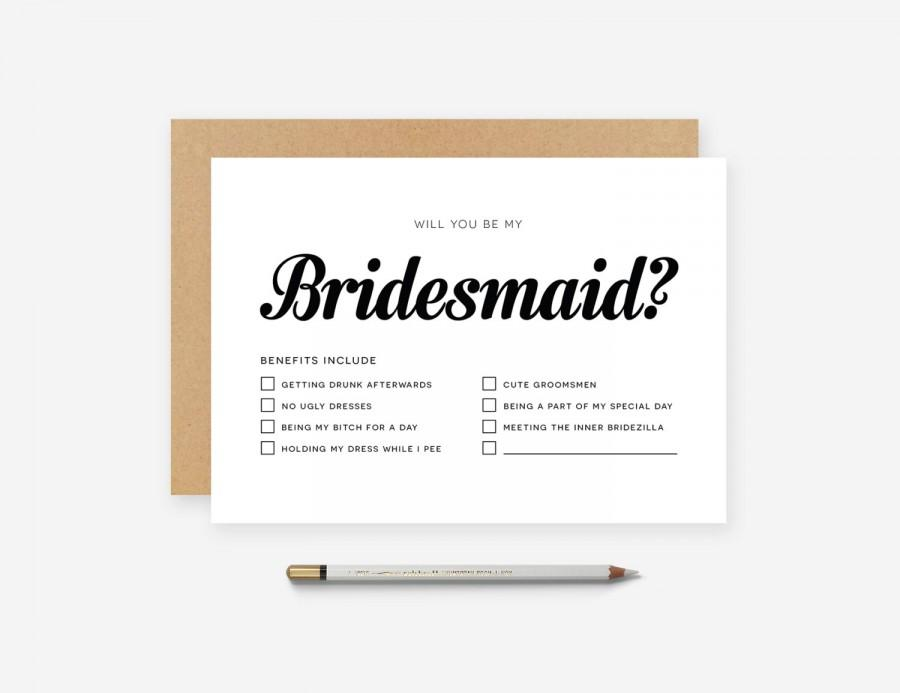 Wedding - Personalised - Custom - Will You Be My Bridesmaid - Maid of Honor Honour Card - Invitation - Wedding - Modern - Pinterest - Funny - Matron