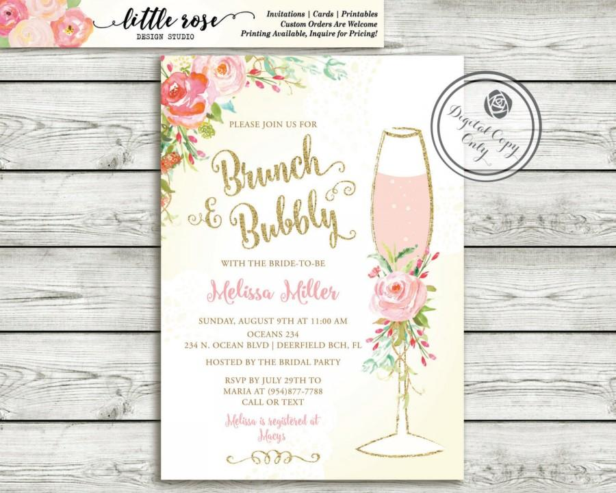 Mariage - Brunch and Bubbly Bridal Shower Invitation - Brunch Invite - Wedding Shower - Hand Painted Roses - Mimosa Invitation - Printable - LR1050