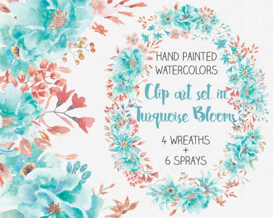 Mariage - Watercolor clip art set: hand painted turquoise blooms; wreaths and sprays; wedding clip art; weddings; instant download