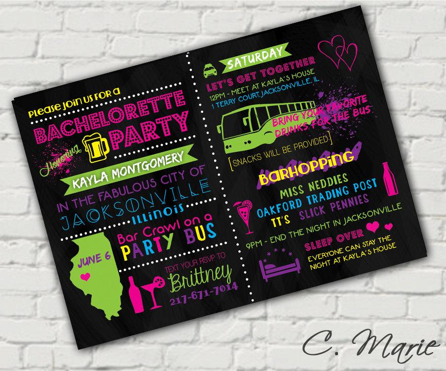 Wedding - Neon Bachelorette Party Invite - Custom Digital Download