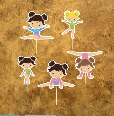 Hochzeit - Gymnastics Cupcake Toppers - Gymnastics Girl - Gymnastics Birthday Party - Gym Girl Party .