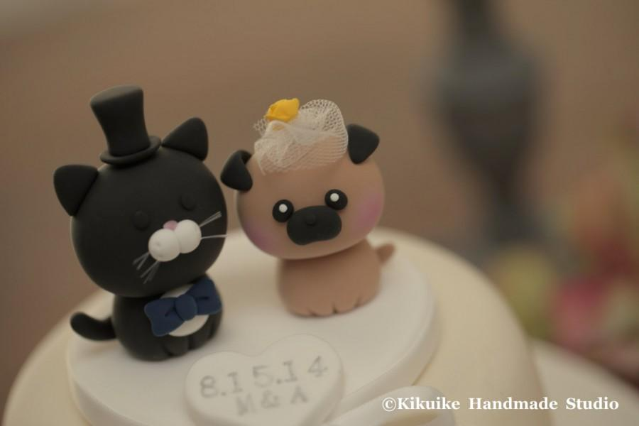 Mariage - Pug and Cat wedding cake topper-----Lovely cat and dog Wedding Cake Topper---k887