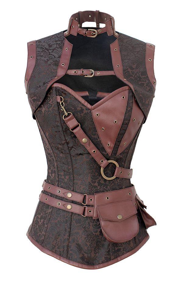 Свадьба - Steel Boned Steampunk Brown Brocade & Faux Leather High Neck Strap Pocket Corset