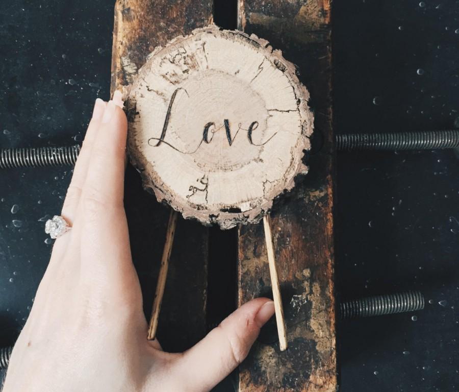 Свадьба - Slice of Love - Oak Cake Topper