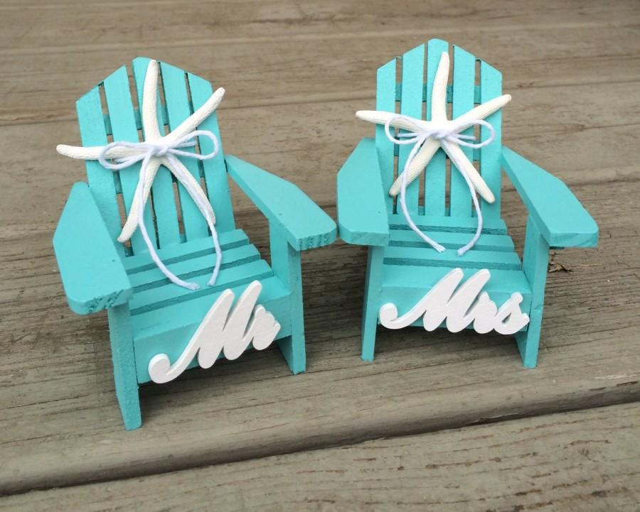 Beach Wedding Cake TopperMini Adirondack ChairsBeach Weddingbeach TopperNautical CakeBeach Theme TopperBridal Shower