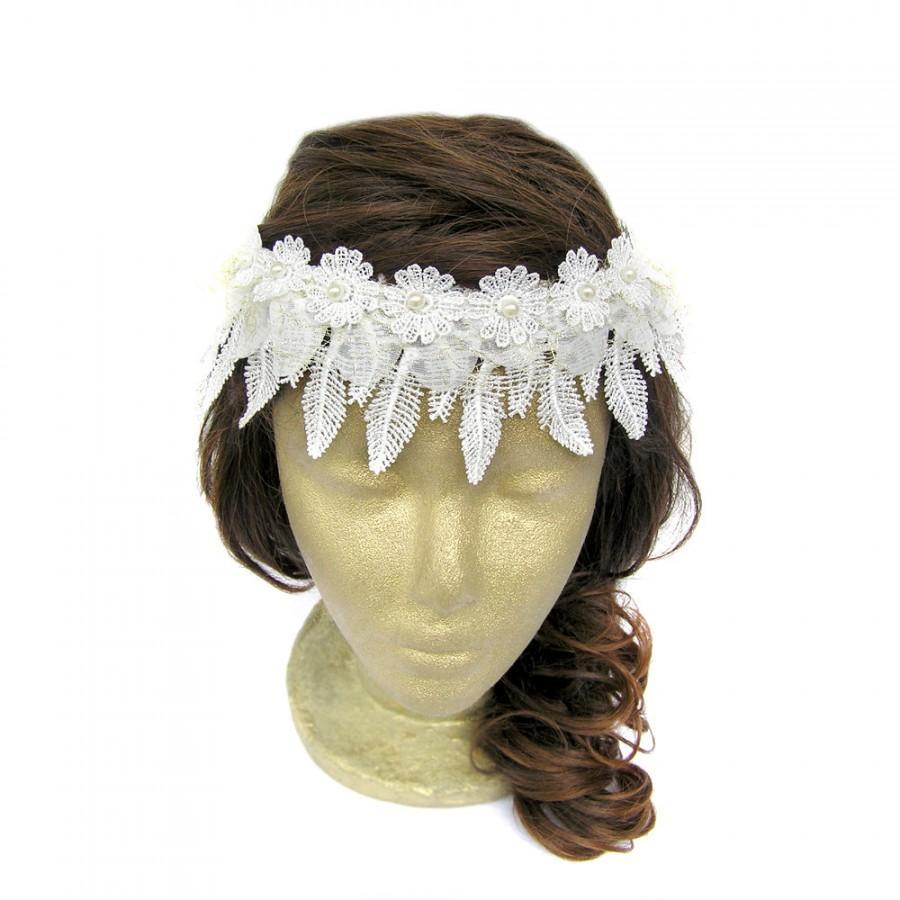 Свадьба - White Lace Headband Boho Bridal Headpiece Bridesmaid Headband Beaded Pearl Lace Circlet Headband Hippie Lace Flower Wedding Hair Accessory