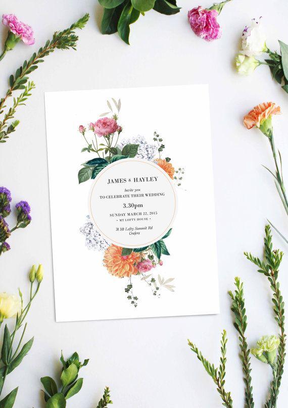 Mariage - Vintage Botanical Wedding Invitations Wedding Stationery Floral Flowers Custom Made Botanicals Clover Blossoms Pretty Pink Orange White