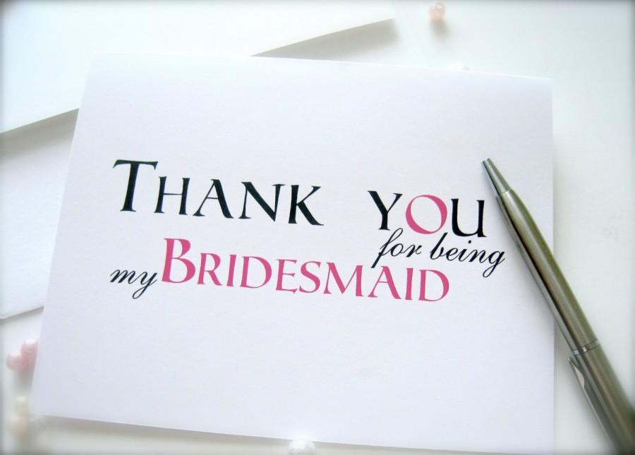Bridesmaid Thank You Cards Cards For Bridal Party Maid Of Honor