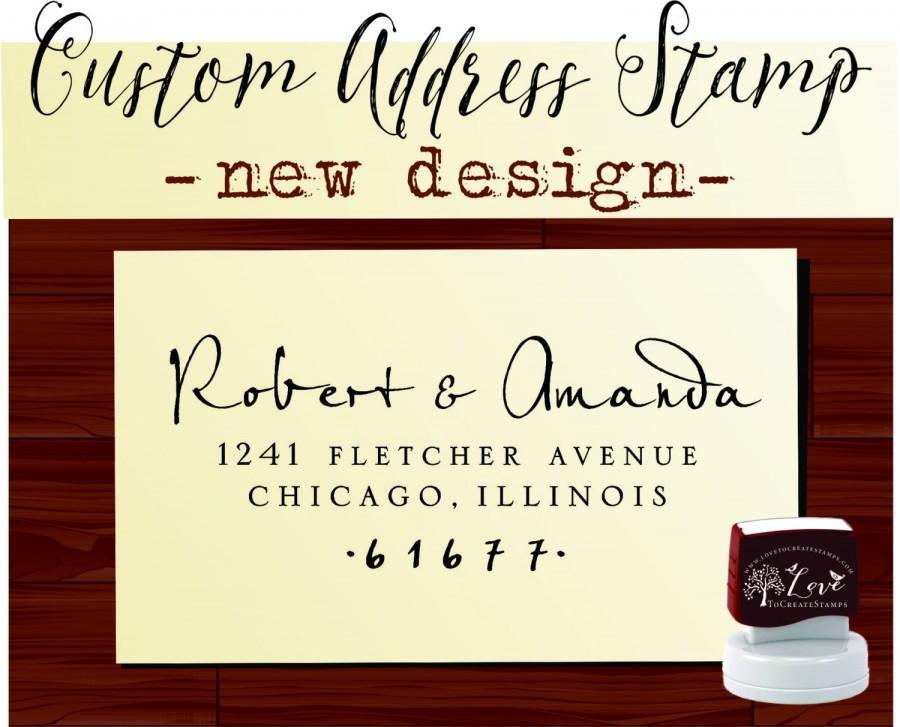 زفاف - Custom Return ADDRESS STAMP Personalized Self Inking Calligraphy Stamper - style 9013B