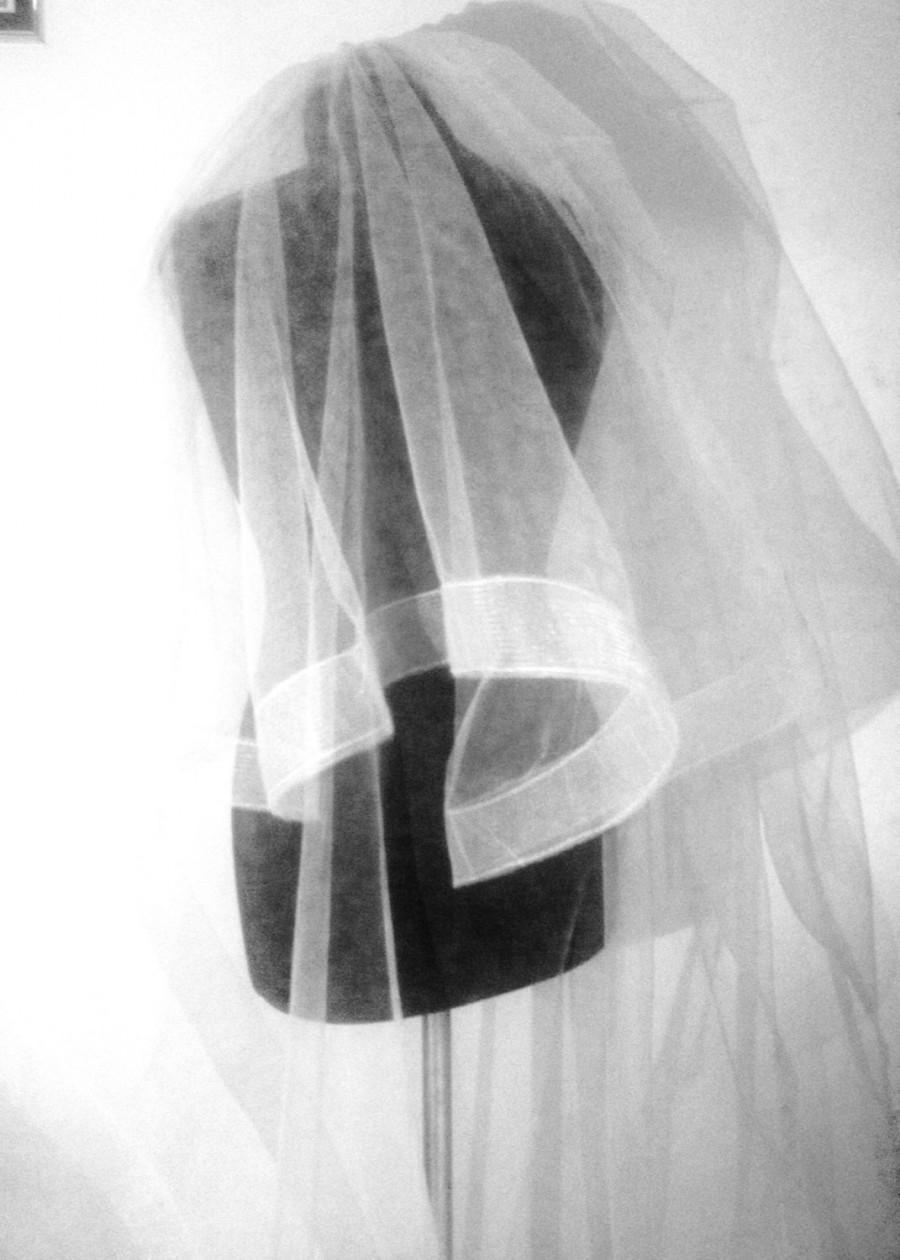 "Mariage - Horsehair wedding veil, Wedding Veil veil whith 2"" horsehair trim ."