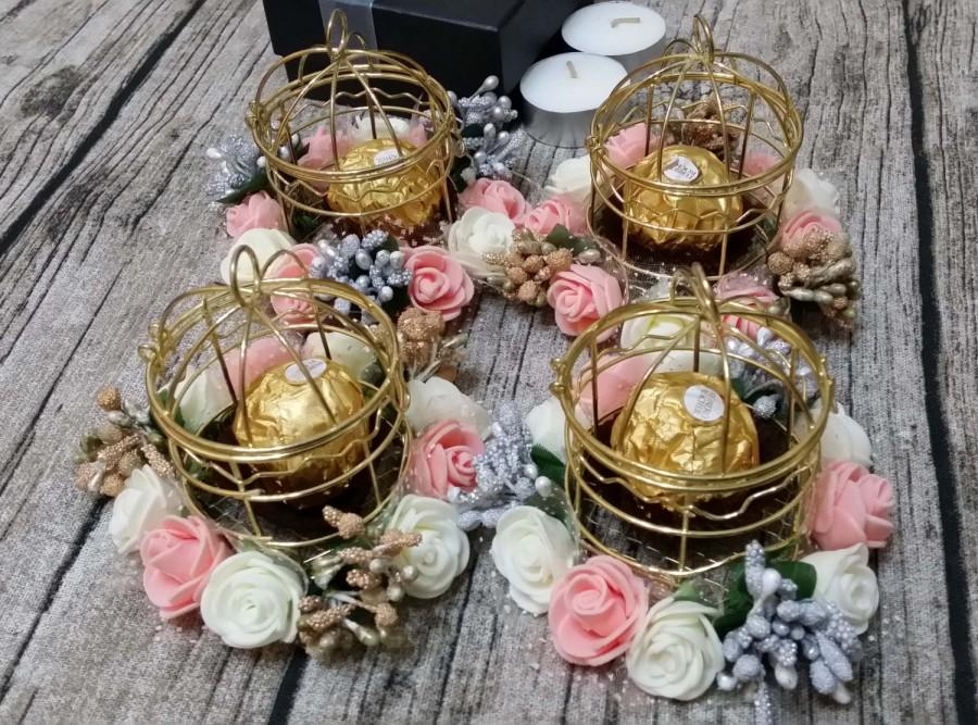 Gold Rose Bird Cages Metal Candle Holder Wedding Decoration Favor