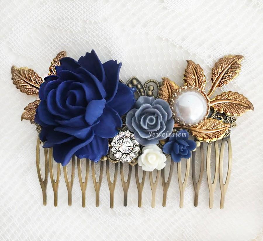 Mariage - Navy Blue Wedding Hair Accessories Dark Blue Flower Bridal Hair Comb Elegant Romantic Headpiece Rustic Hair Slide with Rhinestone Pearl