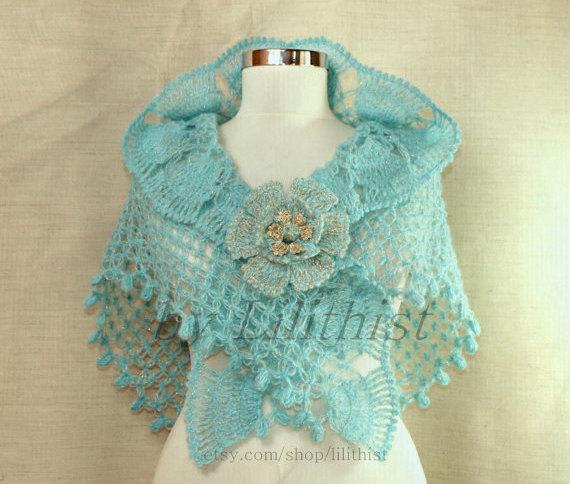 زفاف - Coral Blue Crochet Shawl, Bridal Shawl, Triangle Shawl, Bridal Shrug Bolero, Wedding Shawl, Cover Up Aquamarine, Glitter Gold Bridal Wrap