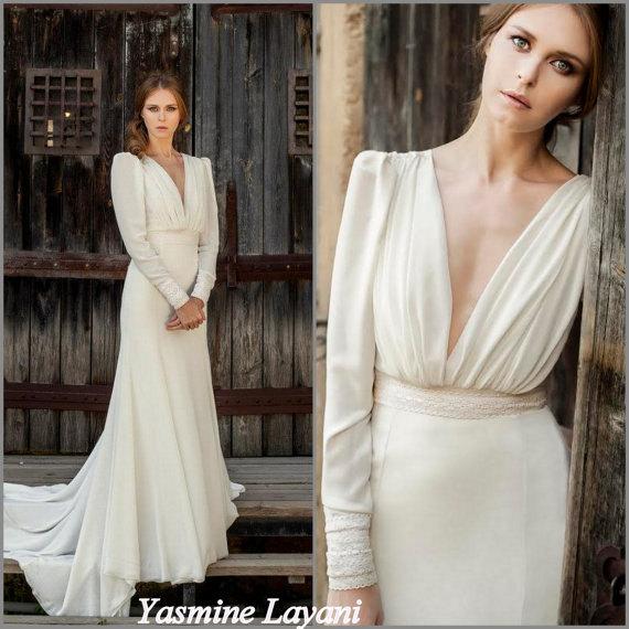 Long Sleeve Wedding Dress Chiffon Boho Chic Elegant Custom Designed Gown Crochet Detail