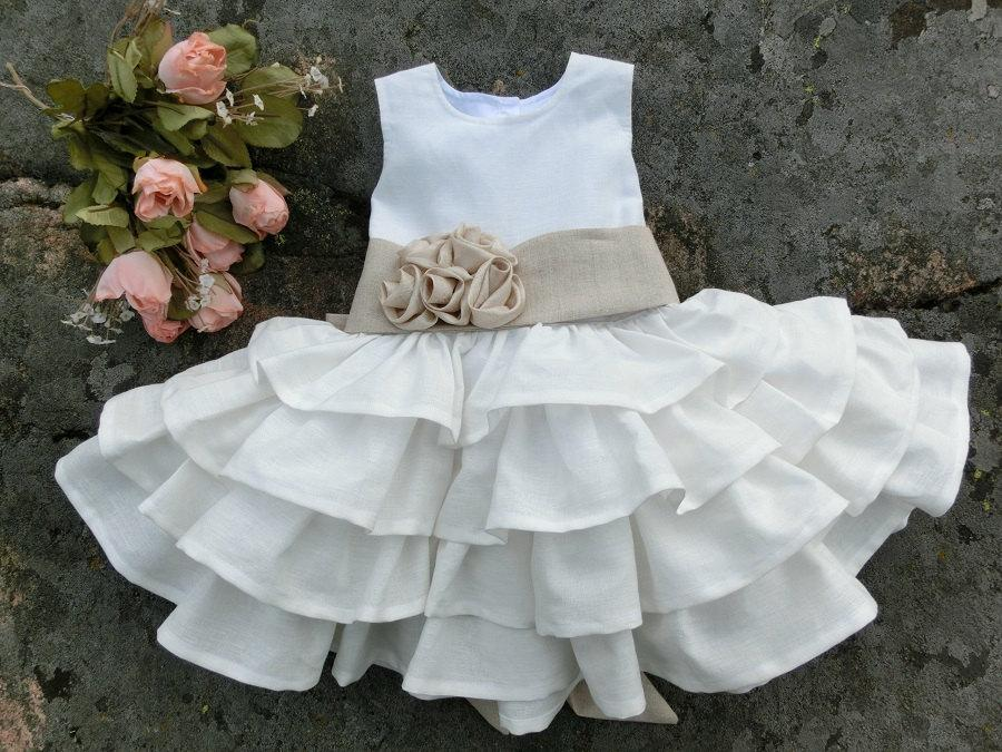 Baby Flower Girl Dress. White Baby Dress. Girls Christening Dress ...