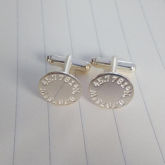 Hochzeit - Engraved Coordinates Cufflinks,Latitude longitude Wedding Cufflinks,Personalized Cufflinks,Engraved Coordinate Cufflinks for Groom