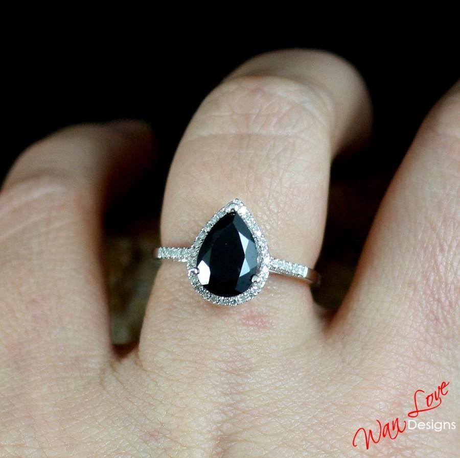 Mariage - Black Spinel & Diamond Pear Halo Engagement Ring 2.5ct 10x7mm 14k 18k White Yellow Rose Gold-Platinum-Custom made size-Wedding-Anniversary