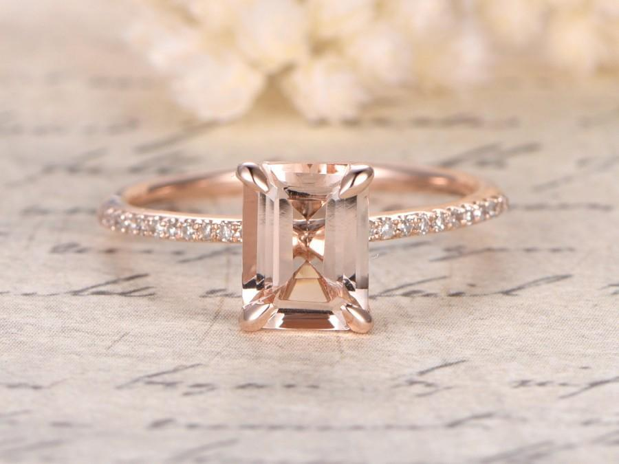 Mariage - 7x9mm Emerald Cut Morganite Ring,14K Rose Gold Morganite Engagement Ring,Emerald Cut Engagement Ring,Diamond Pave Ring,Claw Prongs,Solitaire