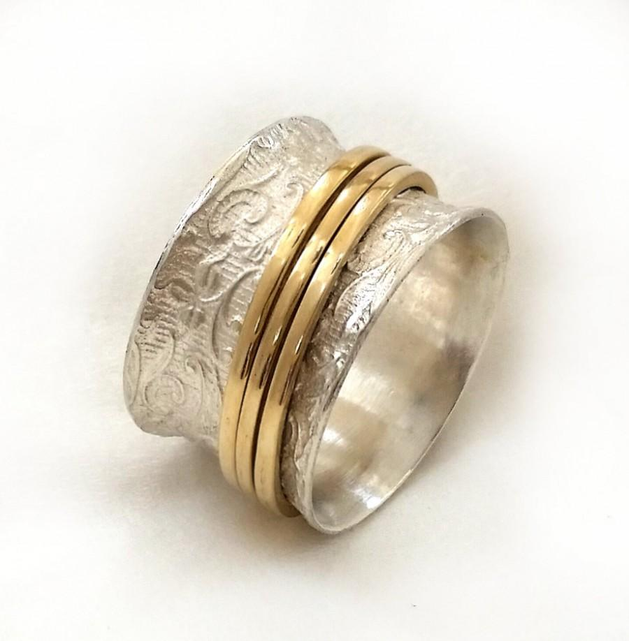 Mariage - chic sterling silver lace ring, three yellow gold spinners, popular ring, women's semiwide wedding ring, spinner ring, art nouveau ring
