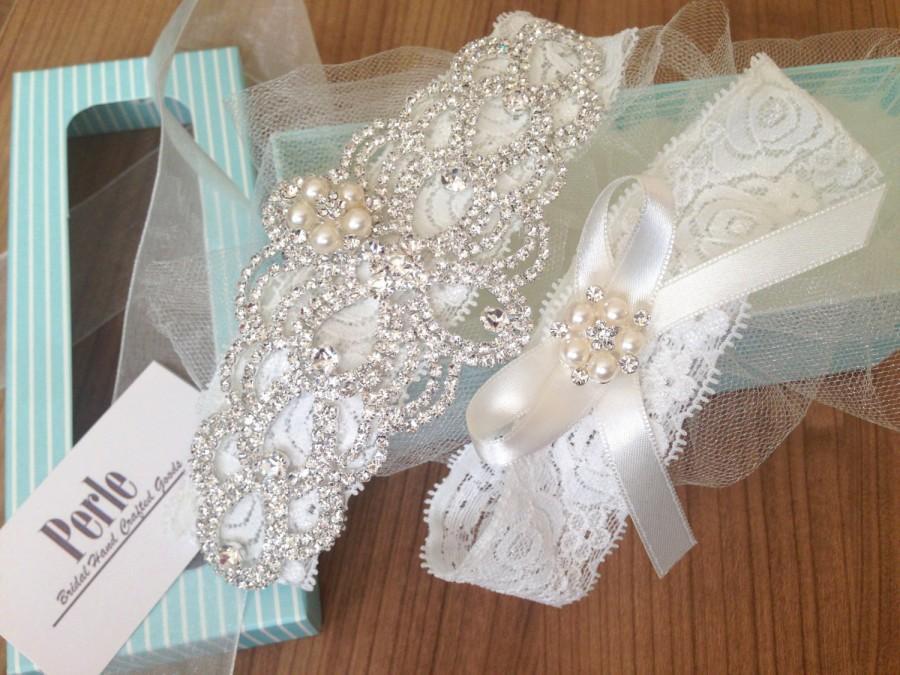 Wedding - Wedding Garter - Bridal Garter Belt - Crystal Rhinestone - Lace Garter - Pearl Garter - Rhinestones Lace Garter - Wedding Garter - Keepsake